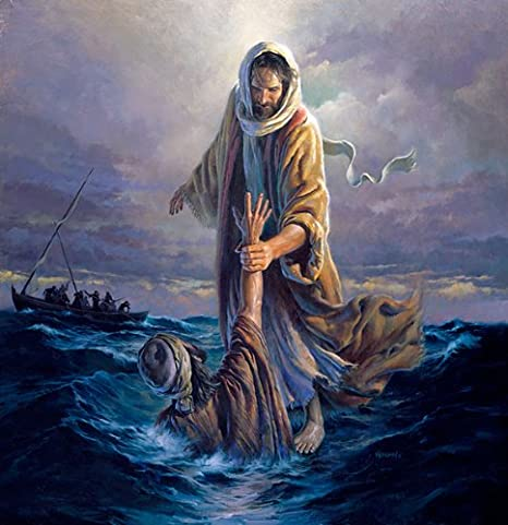 Jesus walks on water, calms the storm and saves Peter from drowning